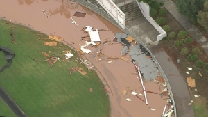 Elsinore High School sustained damage during a storm on Sept. 16, 2014. (Credit: KTLA)