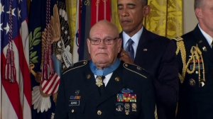 Sgt. Maj. Bennie Adkins was awarded the Medal of Honor by President Obama on Sept. 15, 2014. (Credit: CNN)