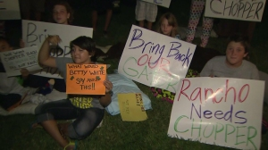 Children staged a sleep-in protest on Sept. 5, 2014, after an alligator was taken from a Rancho Cucamonga home. (Credit: KTLA)