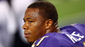Ray Rice #27 of the Baltimore Ravens sits on the bench against the Dallas Cowboys in the first half of their preseason game at AT&T Stadium on August 16, 2014 in Arlington, Texas. (Credit: Ronald Martinez/Getty Images)