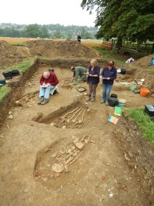 he team of archaeologists and volunteers record their findings at the chapel and the cemetery. (Credit: University of Leicester)