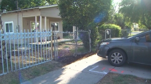 A baby was found safe in a car that was stolen from outside a San Bernardino home and abandoned on Wednesday, Sept. 10, 2014, police said. (Credit: KTLA)