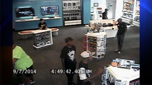 The L.A. County Sheriff's Department released this photo on Sept. 26, 2014, of a burglary at an AT&T store in the Santa Clarita Valley.