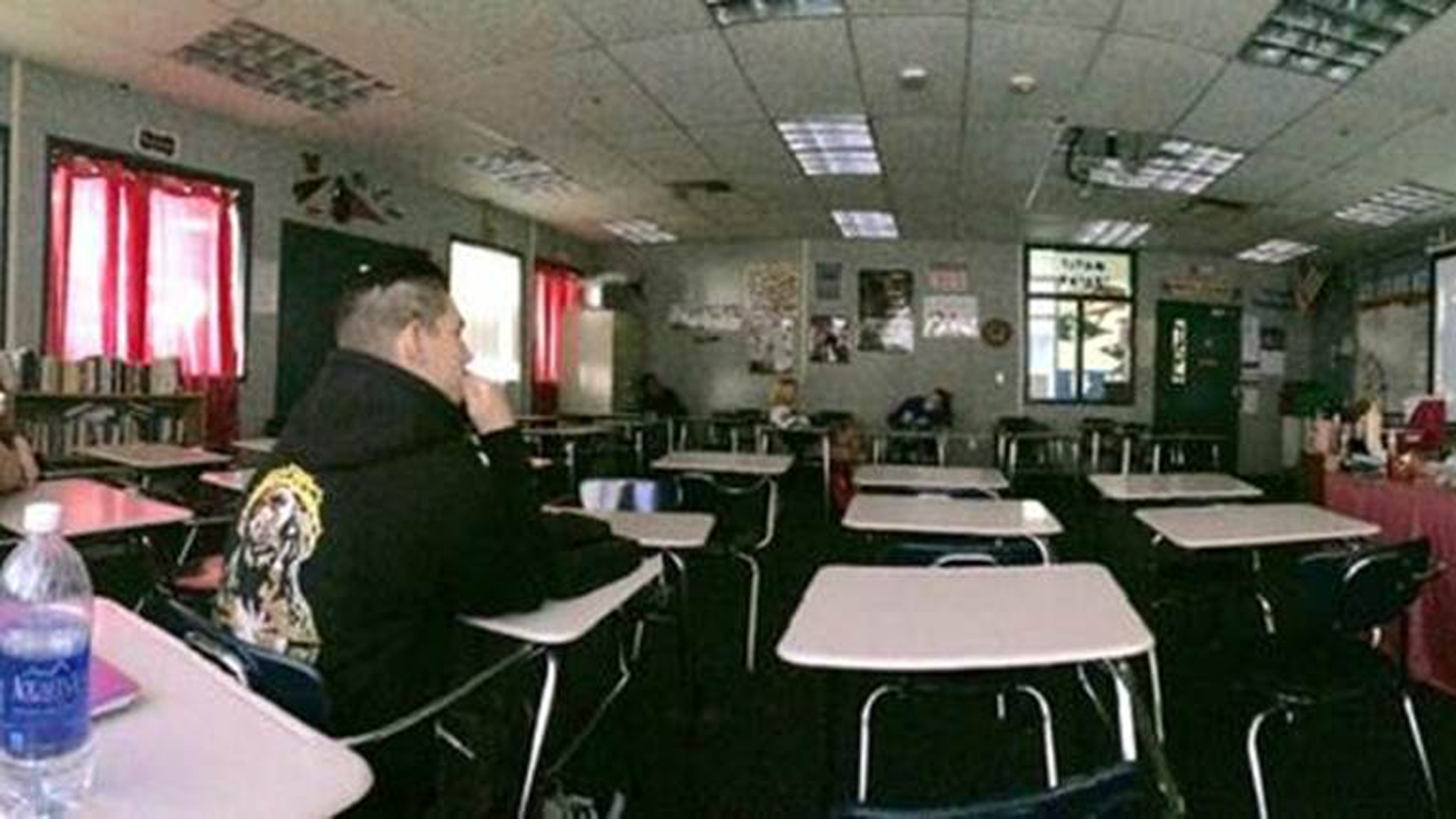 Some classrooms were nearly empty on Monday following a possible shooting threat at Temescal Canyon High School. (Credit: baileyyymaeee via Twitter)