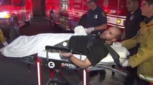 A man was detained after he allegedly stole an ambulance in downtown L.A. on Oct. 19, 2014. (Credit: KTLA)