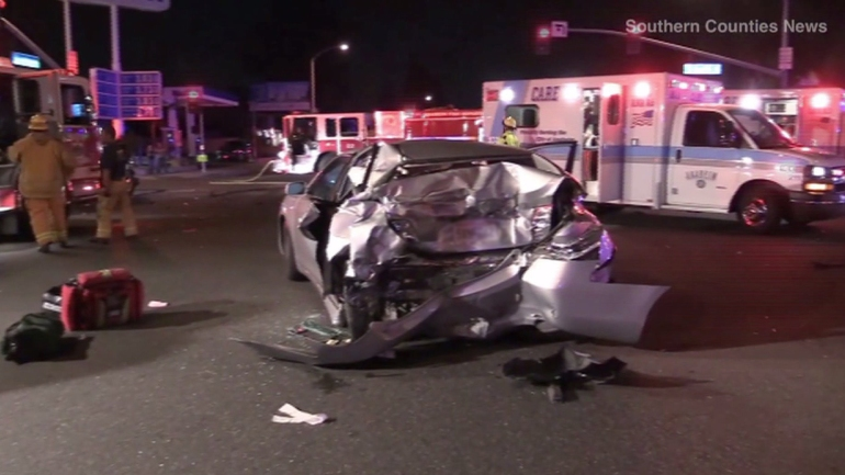 A 10-year-old boy died after the Toyota Camry in which he was riding was struck by a pickup truck at an intersection in Anaheim on Saturday, Oct. 18, 2014, police said. (Credit: Southern Counties News)
