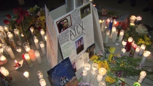 Hundreds gathered at Eleanor Roosevelt High School in Corona on Oct. 5, 2014, to honor five victims of a fiery multi-vehicle crash. (Credit: KTLA)