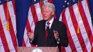 """Bill Clinton speaks at the """"Get Out The Vote"""" rally in Oxnard on Wednesday, Oct. 29, 2014. (Credit: KTLA)"""