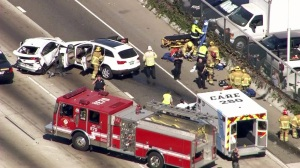 Two cars crashed following a pursuit on the 5 Freeway in Santa Ana on Wednesday. (Credit: KTLA)