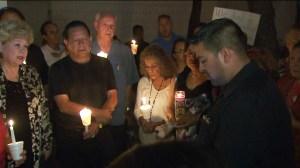 Friends of slain Mayor Daniel Crespo gathered at a vigil outside Bell Gardens City Hall. (Credit: KRLA)