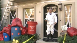 James Faulk decorated his Texas home like an Ebola hazmat scene for Halloween in October 2014. (Credit: KGNS)