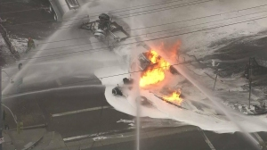 A tanker truck was burning in Boyle Heights on Oct. 31, 2014. (Credit: KTLA)