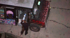 LAPD officers were at the scene of a crash that killed a child in South Los Angeles Oct. 22, 2014. (Credit: KTLA)