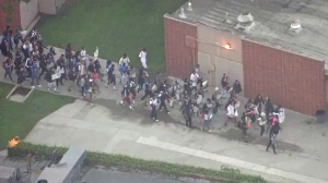 Students held a protest at Mayfair High School in Lakewood on Friday, Oct. 17, 2014. (Credit: KTLA)