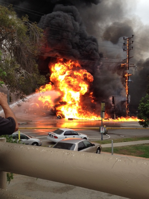 KTLA viewer Wesley Behar submitted this photo of flames rising from a burning tanker truck in Boyle Heights on Oct. 31, 2014.