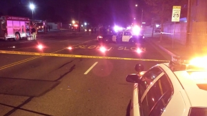 Officials searched for a hit-and-run driver who killed three teen girls who were trick-or-treating on Oct. 31, 2014. (Credit: Steve Kuzj/ KTLA)