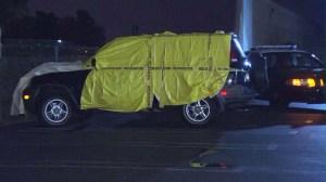 Two men fled a Honda CRV after hitting and killing three teens in Santa Ana Halloween night. (Credit: KTLA)