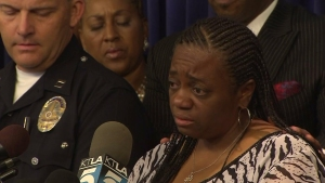 Adrian Parker spoke at a news conference Oct. 10, 2014, on the slaying of Aniya Parker.