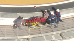 A hiker was airlifted to a local hospital after being attacked in Griffith Park on Nov. 3, 2014, police said. An arrest was made the following day. (Credit: KTLA)