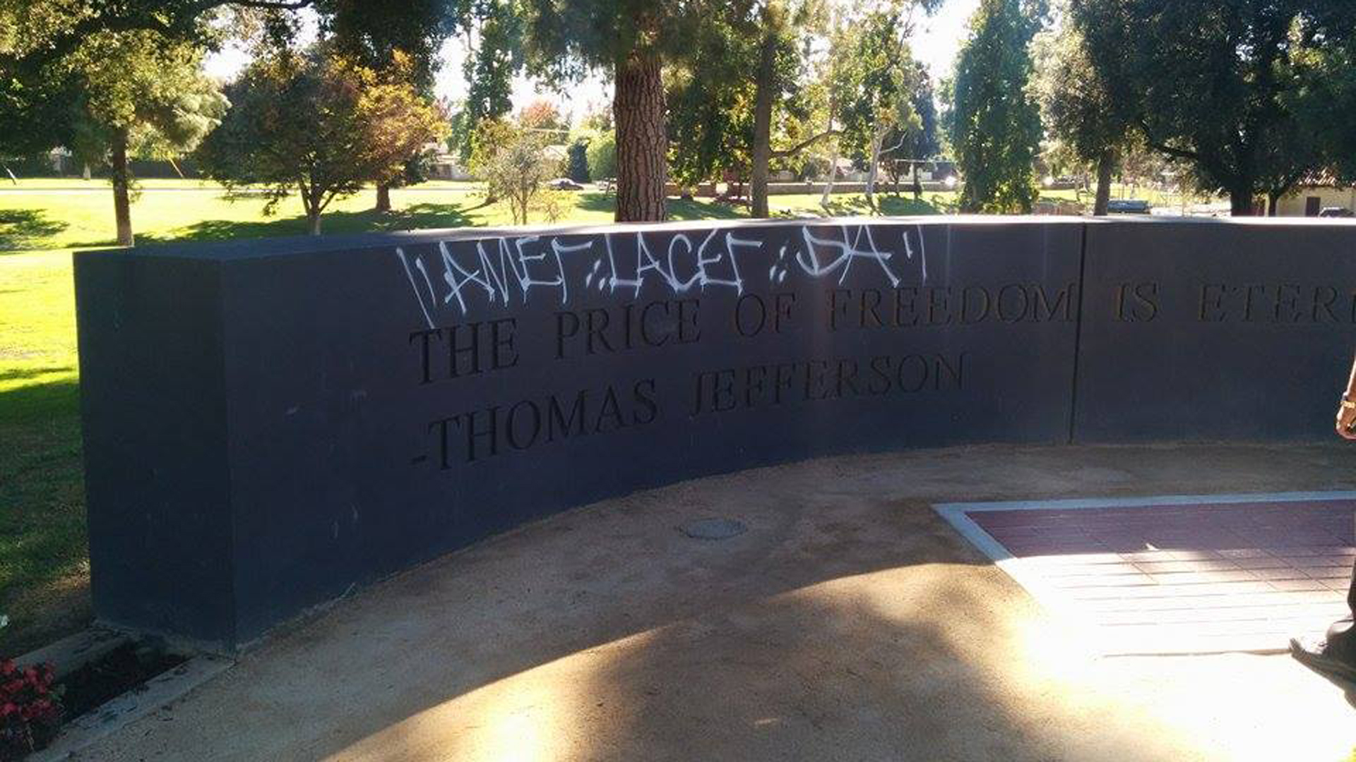 An 18-year-old was arrested on Nov. 10, 2014, for allegedly tagged a veterans memorial in Alhambra, police say. (Credit: Alhambra Police Department)
