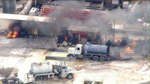A vacuum truck exploded in Santa Paula on Tuesday, Nov. 18, 2014, leaving several people injured. (Credit: KTLA)