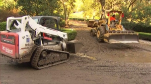Cleanup continued in Glendora well into Friday afternoon on Nov. 21, 2014. (Credit: KTLA)
