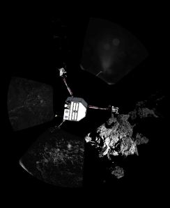 Rosetta's lander Philae on Nov. 13, 2014, returned the first panoramic image from the surface of a comet. The view, unprocessed, as it has been captured by the CIVA-P imaging system, shows a 360-degree view around the point of final touchdown. The three feet of Philae's landing gear can be seen in some of the frames. Superimposed on top of the image is a sketch of the Philae lander in the configuration the lander team currently believe it is in. (Credit: ESA/Rosetta/Philae/CIVA)