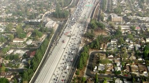 Traffic was backed up on both sides of the 405 Freeway following a fiery crash in North Hills on Friday, Nov. 14, 2014. (Credit: KTLA)
