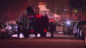 An investigation was underway after deputies shot and killed two men in East Los Angeles on Nov, 16, 2014. (Credit: KTLA)