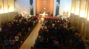 Mourners gathered at Holy Family Cathedral in Orange on Nov. 8, 2014, for the funeral of 13-year-old Andrea Gonzalez. (Credit: Erin Myers/ KTLA)