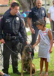 Reiko, a K-9 that officials said was shot and wounded by a suspect on Sunday, Nov. 23, 2014, is seen in a photo provided by the West Covina police Department.