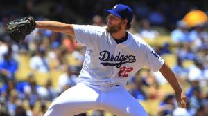 Clayton Kershaw delivers a pitch during a game against the St. Louis Cardinals in 2014. (Credit: Gina Ferazzi / Los Angeles Times)