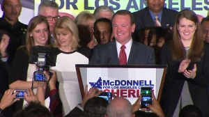 Jim McDonnell speaks at an election victory party on Nov. 4, 2014. (Credit: KTLA)