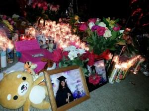 A memorial honored three girls killed while trick-or-treating in Santa Ana on Oct. 31, 2014. (Credit: Steve Kuzj/ KTLA)