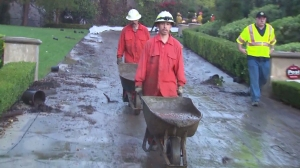 Heavy rainfall caused mud to enter a Glendora home on Nov. 21, 2014. (Credit: KTLA)