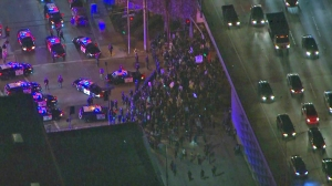 Protesters emerge from under the Jefferson Boulevard 110 Freeway overpass to face LAPD officers on Nov. 25, 2014. (Credit: KTLA)
