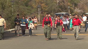 Altadena Mountain Rescue volunteers return after helping to save a group of hikers stranded in Eaton Canyon on Nov. 10, 2014. (Credit: KTLA)
