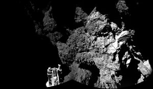 Rosetta's lander Philae is safely on the surface of Comet 67P/Churyumov-Gerasimenko, as these first two CIVA images confirmed on Nov. 13, 2014. (Credit:ESA/Rosetta/Philae/CIVA)