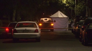 A man was fatally shot in the Manchester Square neighborhood of South Los Angeles on Sunday, Nov. 2, 2014, police said. (Credit: KTLA)