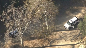 Park rangers and LAPD were responding to the assault on a hiker in Griffith Park Nov. 3, 2014. (Credit: KTLA)