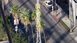 Work was underway Monday to take down the iconic KTLA radio tower. (Credit: KTLA)