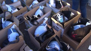 Boxes full of turkeys and trimmings were expected to be handed out during the E.J. Jackson Foundation's annual turkey giveaway Tuesday, Nov. 25, 2014. (Credit: KTLA)