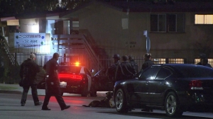 LAPD officers and a  K-9 dog are seen outside a Valley Glen apartment where a gunman was believed to be barricaded on Monday, Nov. 3, 2014. (Credit: KTLA)