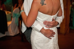 A paraplegic veteran from Fishers, Indiana surprised his wife by giving her a first dance at their wedding without his wheelchair. (Credit: LinneaLiz Photography via CNN Wire)