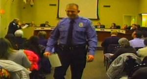 Officer Darren Wilson is seen attending a Feb.11, 2014, City Council meeting.  (Credit: City of Ferguson)