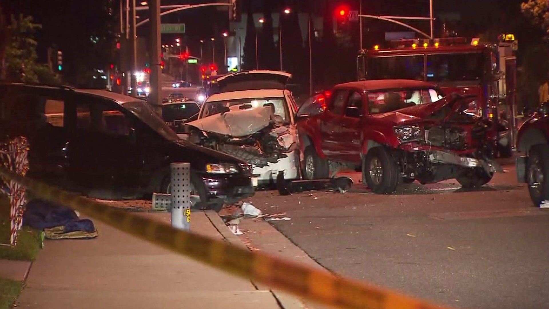 Multiple vehicles were involved in a collision in Alhambra on Sunday, Dec. 14, 2014. (Credit: KTLA)