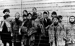 A 1945 photo shows children prisons of the German prison camp Auschwitz in Poland. (Credit: Alexander Vorontsov via Shoah Foundation)