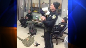 A Photo of Battle Creek Police with the baby was shared on their Facebook page.