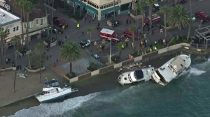 Authorities were on scene at Avalon Harbor on Dec. 31, 2014, after two people were killed on Catalina Island. (Credit: KTLA)