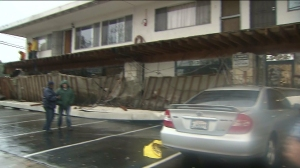A balcony collapsed in Long Beach as a result of a storm that hit Southern California on Dec. 12, 2014. (Credit: KTLA)